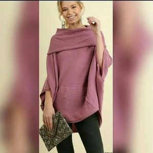 Sweaters - Oversized Foldover Sweater Purple Raw Hem